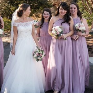 Soft Mesh Halter Bridesmaid Dress with Slim Sash